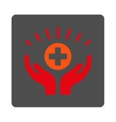 Medical prosperity rounded square button vector