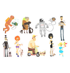 People of different professions with pets vector