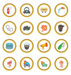 Protest items icons circle vector