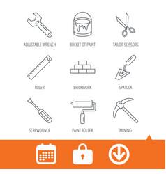 Screwdriver scissors and adjustable wrench vector