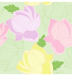 seamless pattern with colored lotus vector image vector image