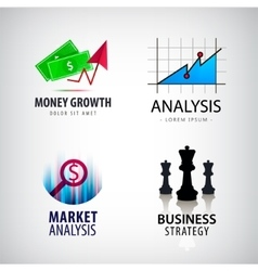set of business concept logos strategy vector image