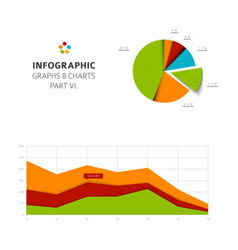 set of flat design infographic charts and graphs 6 vector image
