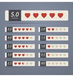 Set of rating widgets with heart shapes vector