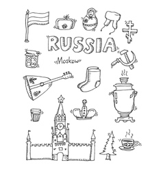 Set of Russia hand-drawn icons vector image vector image