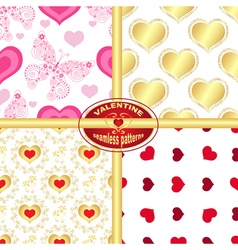 Set seamless valentine patterns vector image vector image