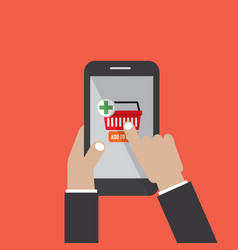 smartphone with shopping cart and pay button vector image