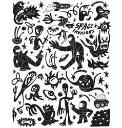 Space invaders aliens - doodles set vector