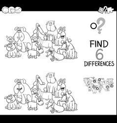 Spot the difference with dogs coloring book vector