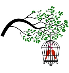Tree silhouette with bird in a cage vector
