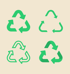 universal recycling symbol flat icon set vector image vector image
