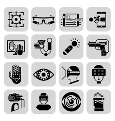 Virtual augmented reality icons black vector