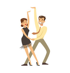 Young couple dancing colorful character vector
