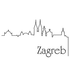 Zagreb city one line drawing background vector