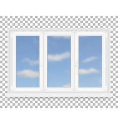 Realistic white plastic window with sky view vector