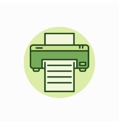 Printer green icon vector