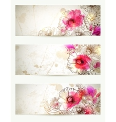 Hand drawn floral vintage  set of vector