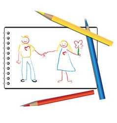 Drawn by a child in the album a couple in love vector