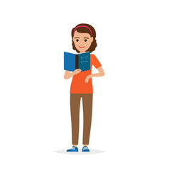 Isolated adult female person reading book on white vector