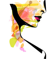 sketch of beautiful woman face vector image