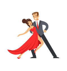 Young happy couple dancing colorful character vector