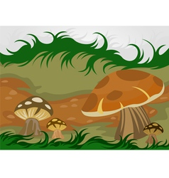 Cartoon mushrooms nature vector