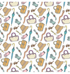 Doodle fashion pattern with accessories and vector