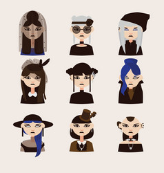 Set with gothic girls characters drawn vector