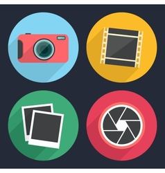 Photography icons with long shadow vector