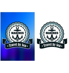 Marines round label or badge with anchor vector