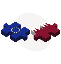 European union and qatar flags vector