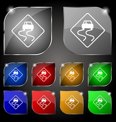 Road slippery icon sign set of ten colorful vector