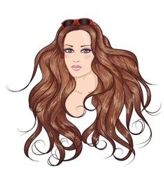 Face brunette long hair girl in sunglasses vector
