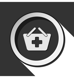 icon - shopping basket plus with shadow vector image