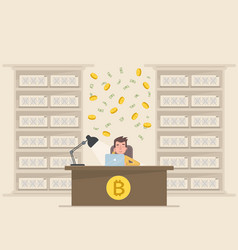 a young man makes money on bitcoin vector image