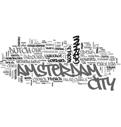 Background to amsterdam text word cloud concept vector