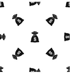 bag with dollars pattern seamless black vector image vector image