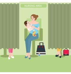 Breast feeding lactation room facility public area vector