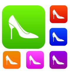 Bride shoes set collection vector