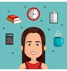 character woman multitask design graphic isolated vector image