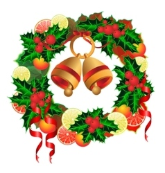 Christmas wreath with bells fruit and holly vector
