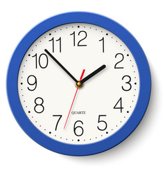 classic round wall clock in blue body isolated vector image