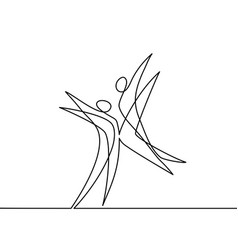 Continuous line drawing of abstract dancers vector