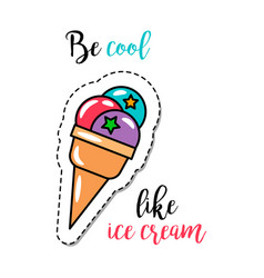 fashion patch element ice cream vector image vector image