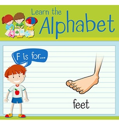 Flashcard letter F is for feet vector image