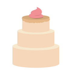 Hand drawing color three-story cake with pink vector