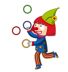 Happy clown juggling rings vector