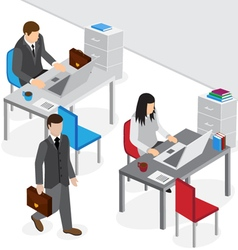 isometric office work vector image vector image