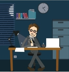 man working late night deadline in office alone vector image vector image