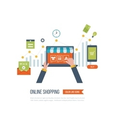 Mobile marketing concept Online shopping vector image vector image